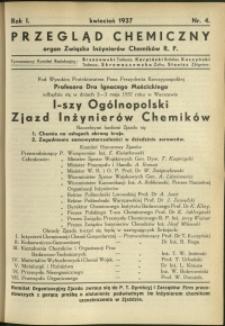 Przegląd Chemiczny : organ Związku Inżynierów Chemików RP : 1937 : nr 4
