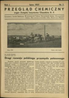 Przegląd Chemiczny : organ Związku Inżynierów Chemików RP : 1937 : nr 7