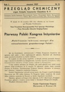 Przegląd Chemiczny : organ Związku Inżynierów Chemików RP : 1937 : nr 8