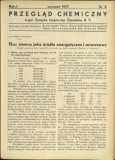 Przegląd Chemiczny : organ Związku Inżynierów Chemików RP : 1937 : nr 9