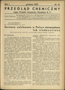 Przegląd Chemiczny : organ Związku Inżynierów Chemików RP : 1937 : nr 12