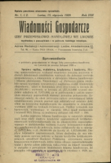 Wiadomości Gospodarcze Izby Przemysłowo-Handlowej we Lwowie : 1929 : nr 1-2