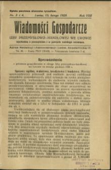 Wiadomości Gospodarcze Izby Przemysłowo-Handlowej we Lwowie : 1929 : nr 3-4