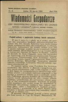 Wiadomości Gospodarcze Izby Przemysłowo-Handlowej we Lwowie : 1929 : nr 6
