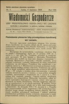 Wiadomości Gospodarcze Izby Przemysłowo-Handlowej we Lwowie : 1929 : nr 7