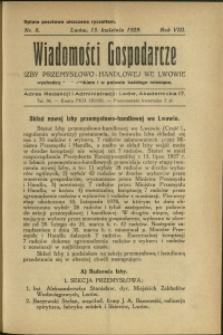 Wiadomości Gospodarcze Izby Przemysłowo-Handlowej we Lwowie : 1929 : nr 8