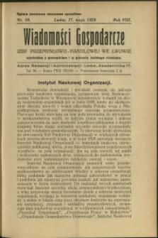 Wiadomości Gospodarcze Izby Przemysłowo-Handlowej we Lwowie : 1929 : nr 10