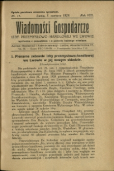 Wiadomości Gospodarcze Izby Przemysłowo-Handlowej we Lwowie : 1929 : nr 11