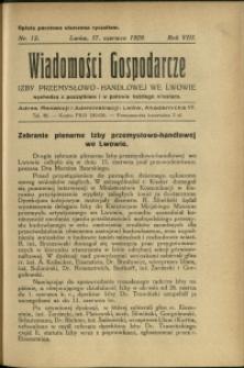 Wiadomości Gospodarcze Izby Przemysłowo-Handlowej we Lwowie : 1929 : nr 12