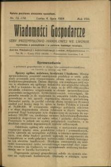 Wiadomości Gospodarcze Izby Przemysłowo-Handlowej we Lwowie : 1929 : nr 13-14