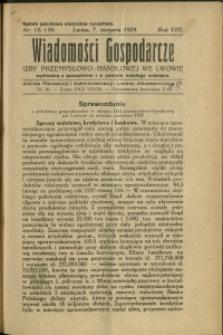 Wiadomości Gospodarcze Izby Przemysłowo-Handlowej we Lwowie : 1929 : nr 15-16