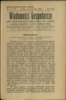 Wiadomości Gospodarcze Izby Przemysłowo-Handlowej we Lwowie : 1929 : nr 17-18
