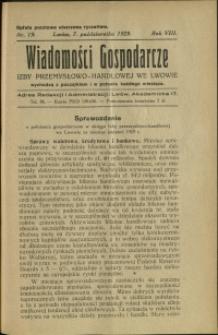 Wiadomości Gospodarcze Izby Przemysłowo-Handlowej we Lwowie : 1929 : nr 19