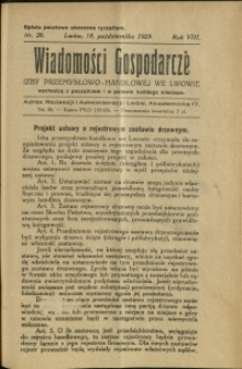 Wiadomości Gospodarcze Izby Przemysłowo-Handlowej we Lwowie : 1929 : nr 20