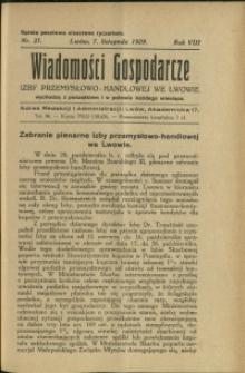 Wiadomości Gospodarcze Izby Przemysłowo-Handlowej we Lwowie : 1929 : nr 21