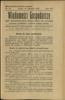 Wiadomości Gospodarcze Izby Przemysłowo-Handlowej we Lwowie : 1929 : nr 22