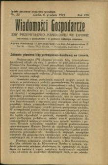Wiadomości Gospodarcze Izby Przemysłowo-Handlowej we Lwowie : 1929 : nr 23