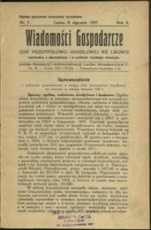 Wiadomości Gospodarcze Izby Przemysłowo-Handlowej we Lwowie : 1931 : nr 1