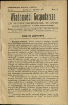Wiadomości Gospodarcze Izby Przemysłowo-Handlowej we Lwowie : 1931 : nr 2