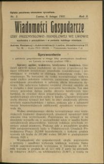 Wiadomości Gospodarcze Izby Przemysłowo-Handlowej we Lwowie : 1931 : nr 3
