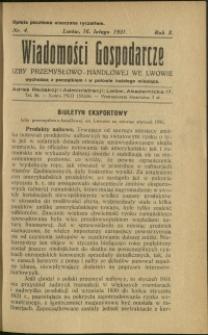 Wiadomości Gospodarcze Izby Przemysłowo-Handlowej we Lwowie : 1931 : nr 4