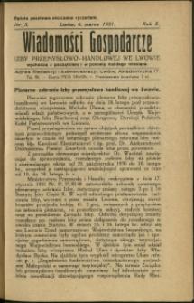 Wiadomości Gospodarcze Izby Przemysłowo-Handlowej we Lwowie : 1931 : nr 5