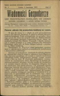 Wiadomości Gospodarcze Izby Przemysłowo-Handlowej we Lwowie : 1931 : nr 7
