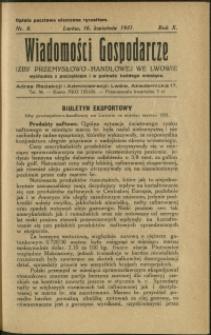 Wiadomości Gospodarcze Izby Przemysłowo-Handlowej we Lwowie : 1931 : nr 8