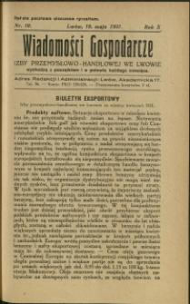 Wiadomości Gospodarcze Izby Przemysłowo-Handlowej we Lwowie : 1931 : nr 10
