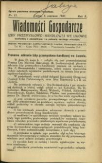 Wiadomości Gospodarcze Izby Przemysłowo-Handlowej we Lwowie : 1931 : nr 11