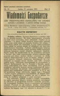Wiadomości Gospodarcze Izby Przemysłowo-Handlowej we Lwowie : 1931 : nr 12