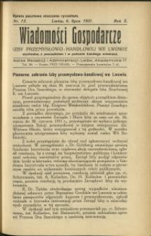 Wiadomości Gospodarcze Izby Przemysłowo-Handlowej we Lwowie : 1931 : nr 13