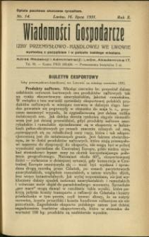 Wiadomości Gospodarcze Izby Przemysłowo-Handlowej we Lwowie : 1931 : nr 14