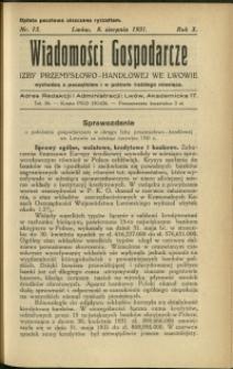 Wiadomości Gospodarcze Izby Przemysłowo-Handlowej we Lwowie : 1931 : nr 15