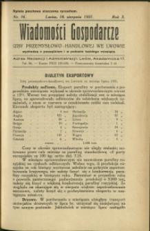 Wiadomości Gospodarcze Izby Przemysłowo-Handlowej we Lwowie : 1931 : nr 16