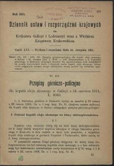 Dziennik Ustaw i Rozporządzeń Krajowych dla Królestwa Galicyi i Lodomeryi wraz z Wielkiem Księstwem Krakowskiem. Cz. 16, Wydana i rozesłana dnia 18. sierpnia 1911