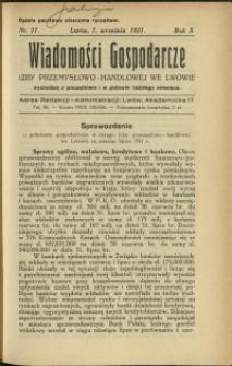 Wiadomości Gospodarcze Izby Przemysłowo-Handlowej we Lwowie : 1931 : nr 17