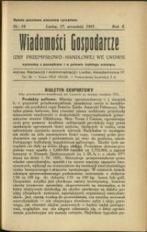 Wiadomości Gospodarcze Izby Przemysłowo-Handlowej we Lwowie : 1931 : nr 18