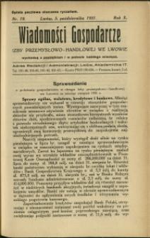 Wiadomości Gospodarcze Izby Przemysłowo-Handlowej we Lwowie : 1931 : nr 19