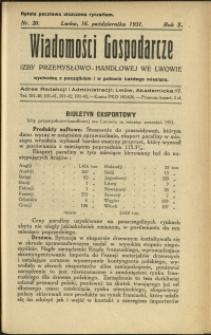 Wiadomości Gospodarcze Izby Przemysłowo-Handlowej we Lwowie : 1931 : nr 20