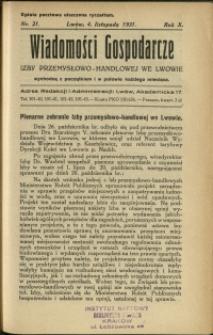 Wiadomości Gospodarcze Izby Przemysłowo-Handlowej we Lwowie : 1931 : nr 21