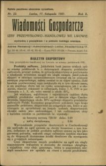 Wiadomości Gospodarcze Izby Przemysłowo-Handlowej we Lwowie : 1931 : nr 22