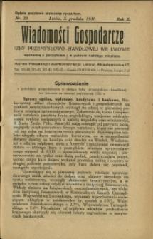 Wiadomości Gospodarcze Izby Przemysłowo-Handlowej we Lwowie : 1931 : nr 23