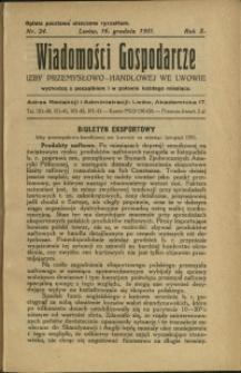 Wiadomości Gospodarcze Izby Przemysłowo-Handlowej we Lwowie : 1931 : nr 24