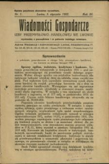 Wiadomości Gospodarcze Izby Przemysłowo-Handlowej we Lwowie : 1932 : nr 1