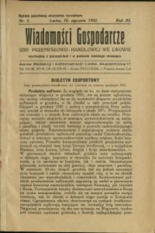 Wiadomości Gospodarcze Izby Przemysłowo-Handlowej we Lwowie : 1932 : nr 2