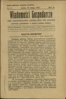 Wiadomości Gospodarcze Izby Przemysłowo-Handlowej we Lwowie : 1932 : nr 4