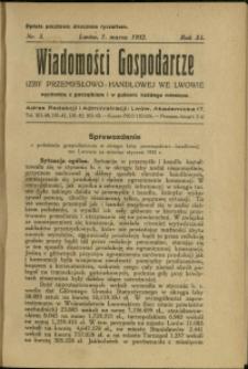 Wiadomości Gospodarcze Izby Przemysłowo-Handlowej we Lwowie : 1932 : nr 5