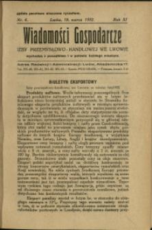 Wiadomości Gospodarcze Izby Przemysłowo-Handlowej we Lwowie : 1932 : nr 6