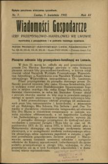Wiadomości Gospodarcze Izby Przemysłowo-Handlowej we Lwowie : 1932 : nr 7